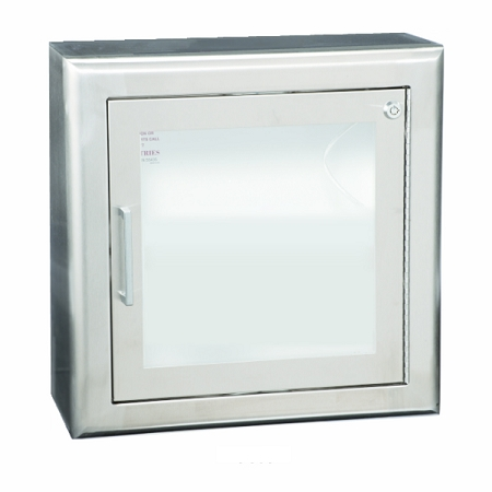 Stainless Steel Semi Recessed Aed Wall Cabinet W 3 Trim