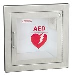 Stainless Steel Semi-Recessed AED Wall Cabinet with 1.5'' Trim