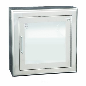 Stainless Steel Semi-Recessed AED Wall Cabinet with 3'' Trim